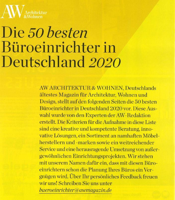 Architektur & Wohnen - Die 50 besten Büroeinrichter Deutschlands