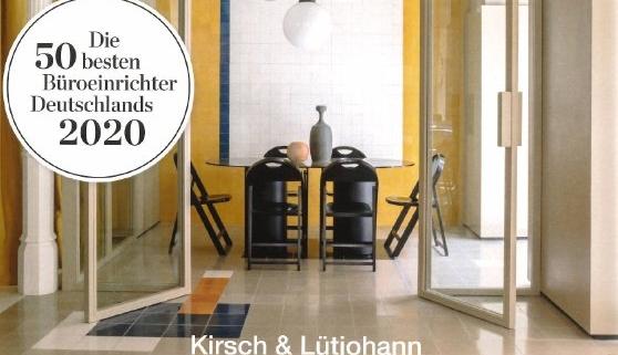Architektur & Wohnen - Die 50 besten Büroeinrichter Deutschlands 2020 - Auszeichnung für Kirsch & Lütjohann