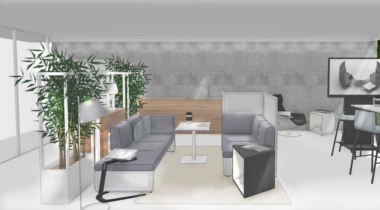 Skizzenhafte Visualisierung einer Aufenthaltsinsel mit Loungemöbeln