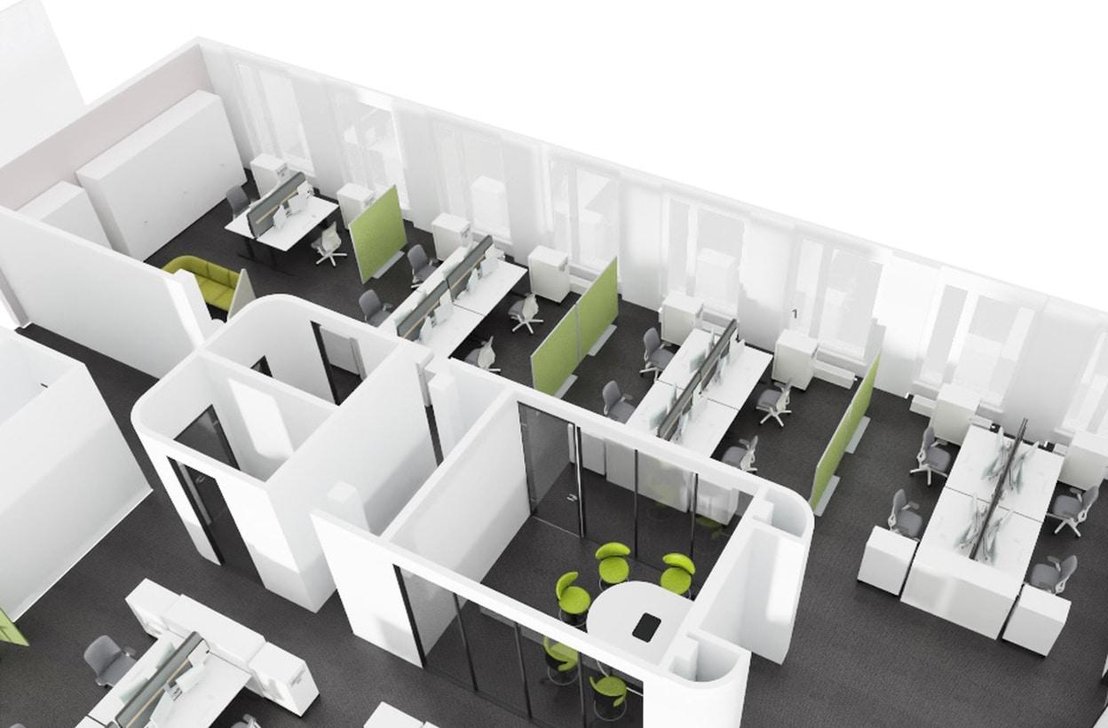 Büroplan als 3D-Visualisierung aus der Vogelperspektive mit Open Space und Konferenzraum