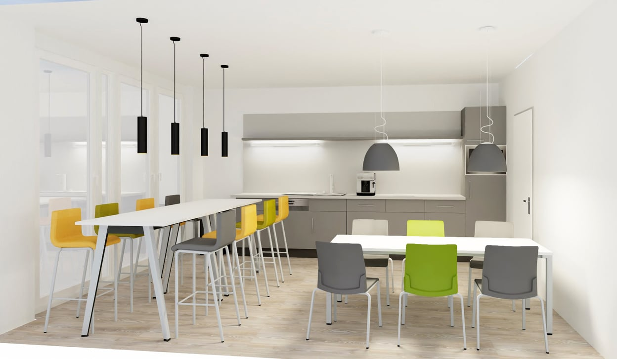 Fotorealistische Visualisierung einer Küche mit Sitzmöglichkeiten