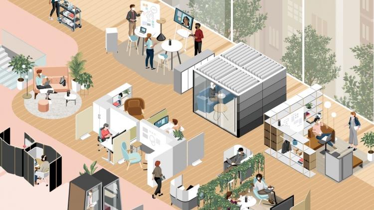 Illustration eines Multi Space Bürokonzepts mit verschiedenen Raum-in-Raum Elementen