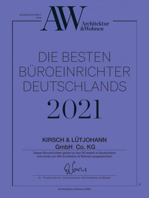 Auszeichnung für Kirsch & Lütjohann als beste Büroeinrichter und Büromöbelhändler Deutschlands 2021