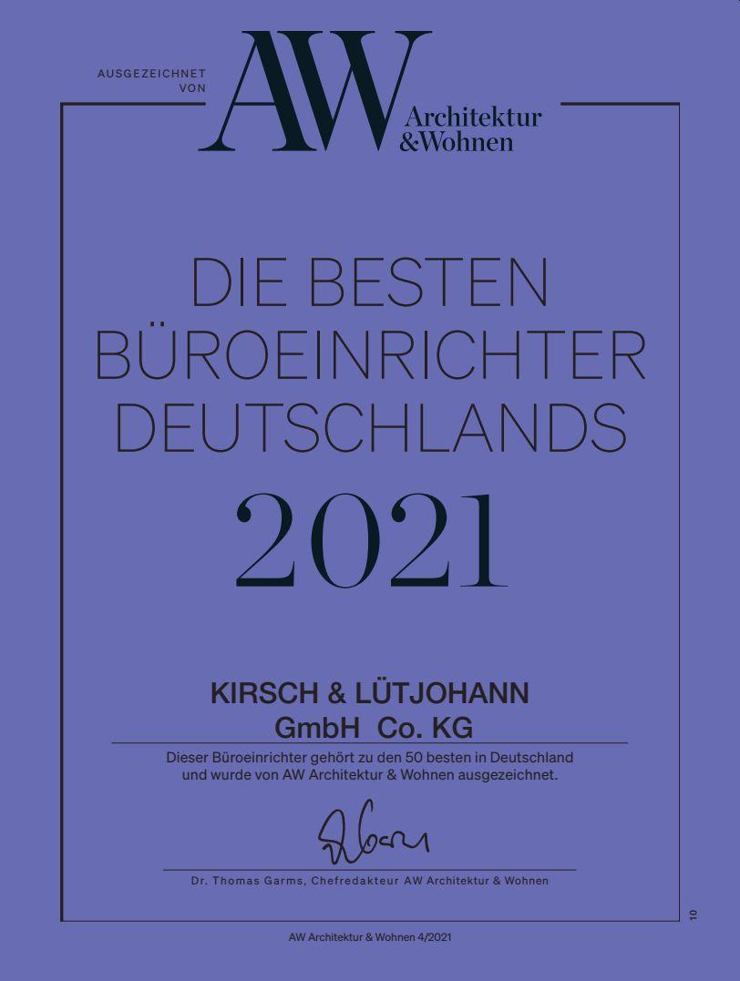 Auszeichnung Kirsch & Lütjohann - Beste Bueroeinrichter 2021