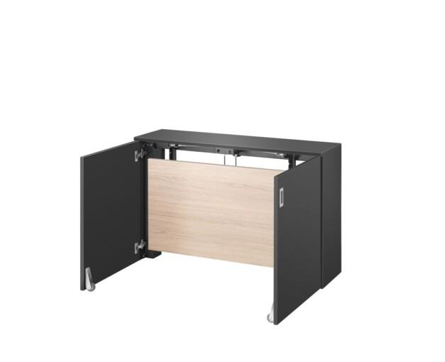 Ausklappbarer Homeoffice Schreibtisch von VEPA Homefit - halb ausgeklappter Zustand