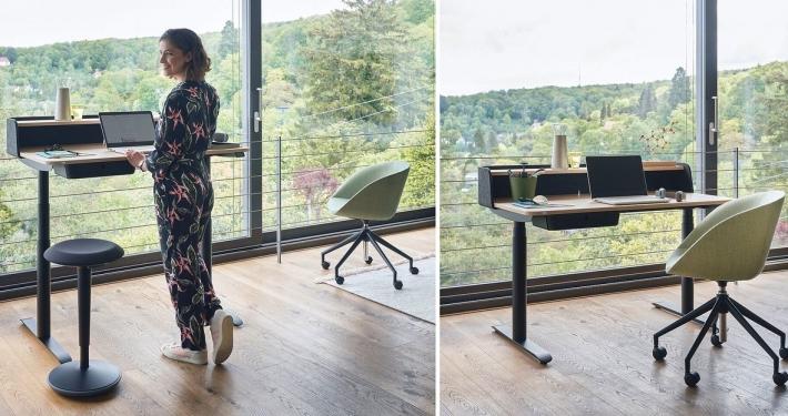 Homeoffice Einrichtung Beispiel mit Sedus sedesk home elektronisch höhenverstellbarer Schreibtisch